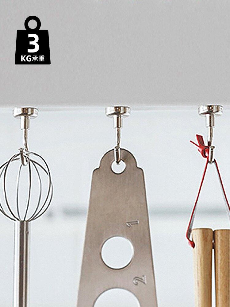 日本磁铁挂钩免打孔金属挂钩强力冰箱吸附厨房吸铁石挂钩2个