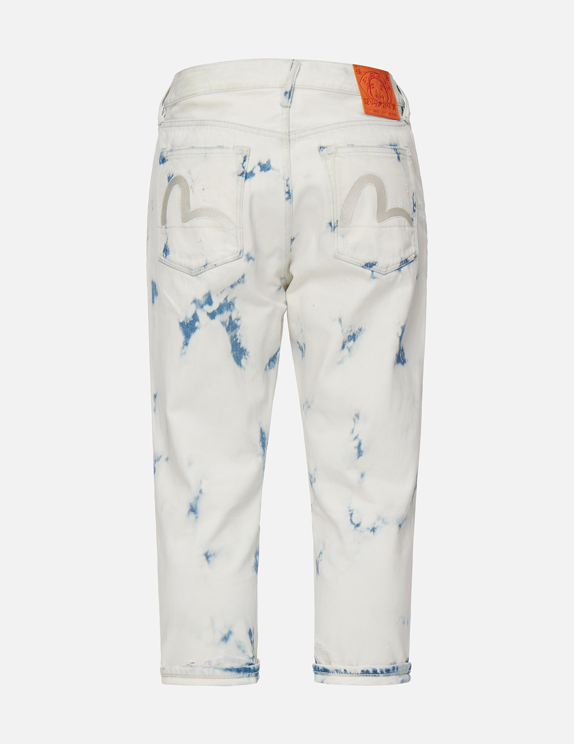 Seagull Embroidery Bleach-dye Cropped Jeans