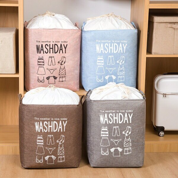 ✤宜家✤巨無霸超大棉麻束口棉被收納袋 衣物袋 搬家袋 抖音同款 (顏色隨機出貨)