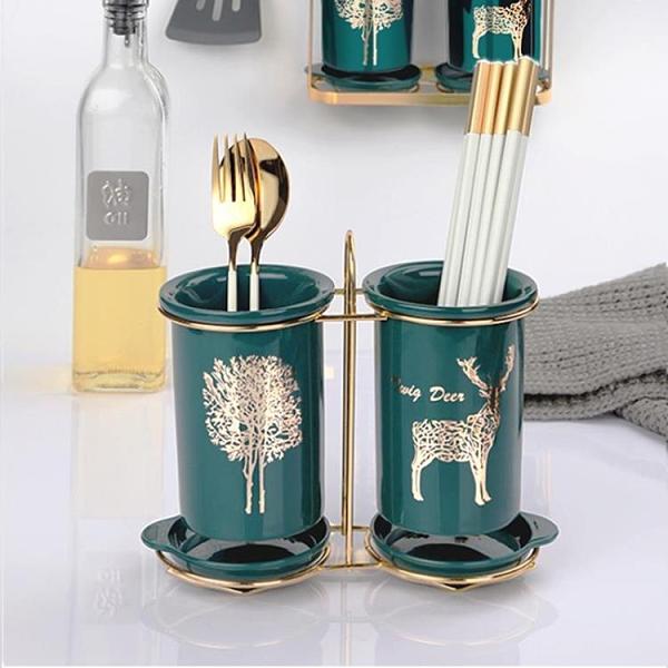 筷籠筷子簍陶瓷筷子筒置物架瀝水廚房放勺子的收納盒桶歐式筷子籠家用【快速出貨】