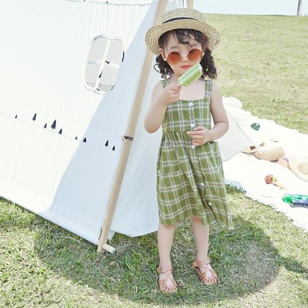 女童格子吊帶裙韓版純棉洋氣小清新女寶寶洋裝兒童夏裝2021新款2 幸福第一站