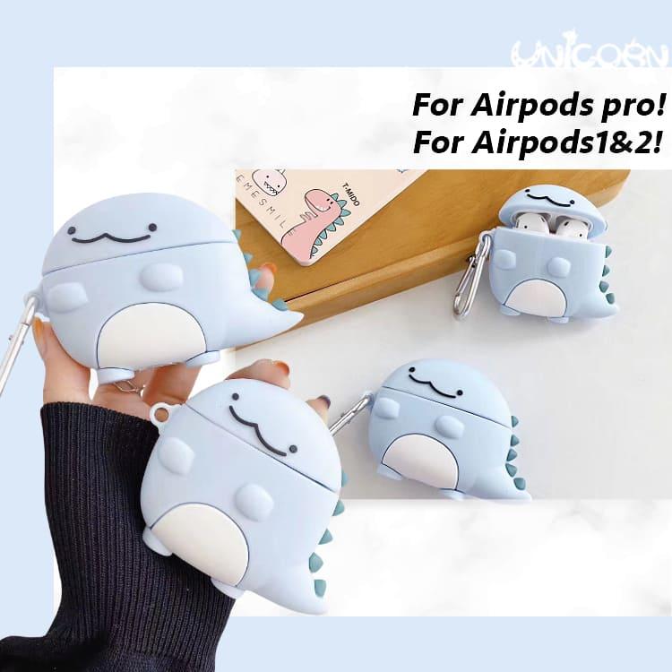 天藍小恐龍 蘋果AirPods Pro3代 & AirPods 1/2代專用 耳機盒保護套 收納套【AP1090618】Unicorn手機殼