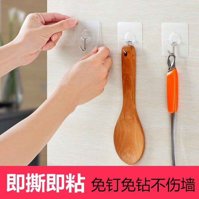 掛鉤 鉤子 掛鉤強力粘膠廚房吸盤掛鉤門后無痕壁掛粘鉤衛生間承重免釘鉤子