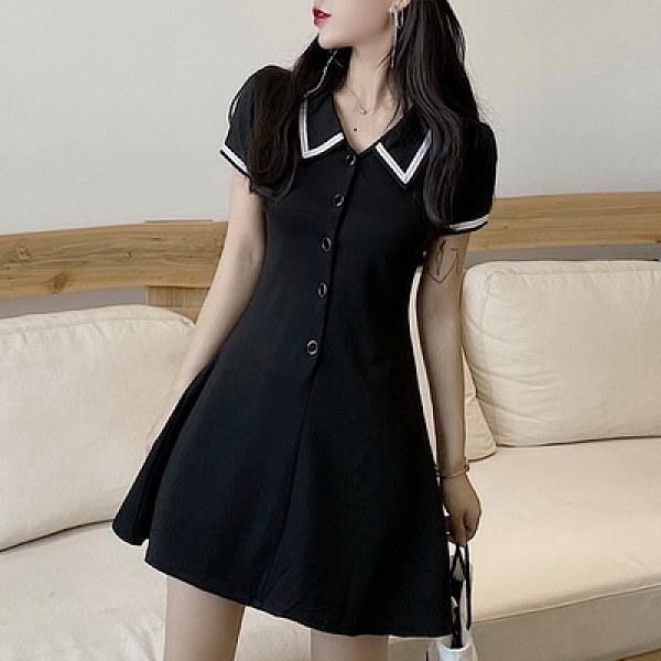 (下殺)港味復古法式桔梗裙撞色翻領黑裙修身顯瘦氣質連身裙【08SG06113】