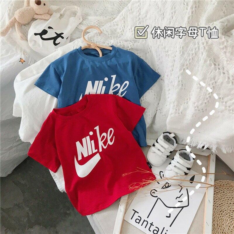 兒童短袖2021夏季新款寶寶休閒簡約寬鬆字母T恤男女童洋氣上衣