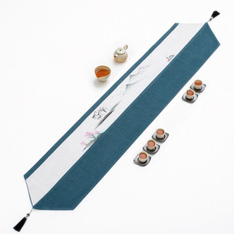 桌旗 茶台桌旗布中式簡約現代茶席桌布長條茶几布藝茶旗禪意中國風床旗『XY18473』