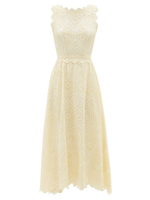 Luisa Beccaria - Broderie-anglaise Cotton-poplin Midi Dress - Womens - Ivory