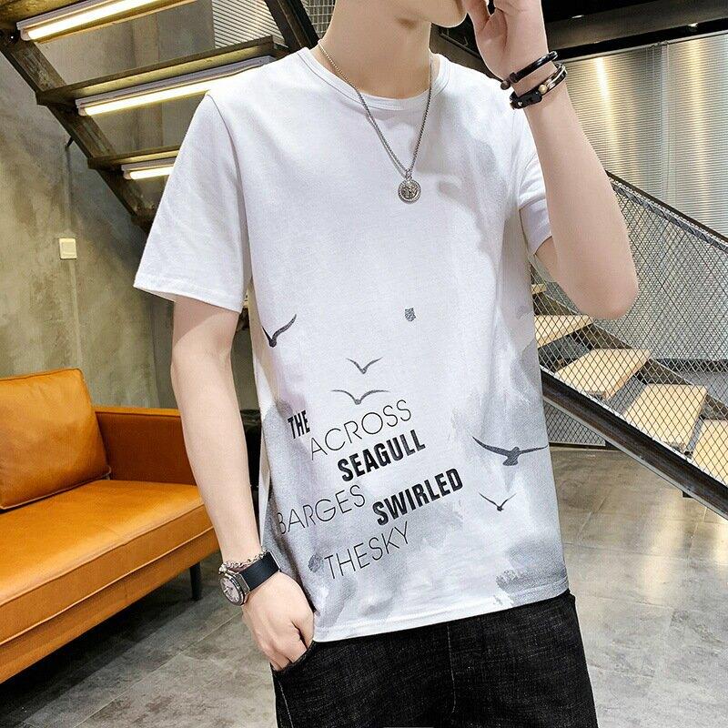 男裝夏季新款短袖T恤韓版寬鬆半袖體恤男印花純棉打底衫