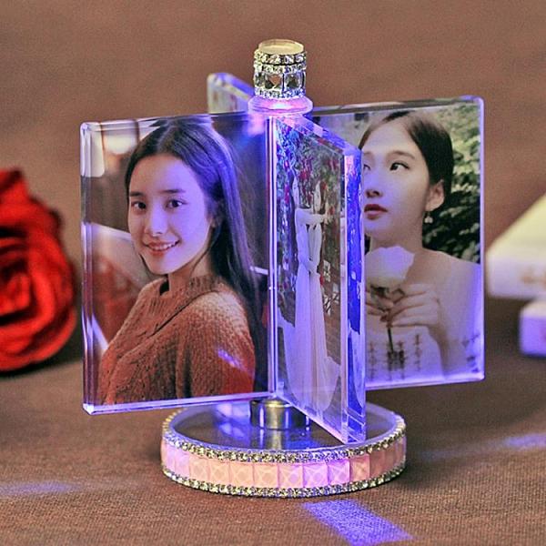 相框擺台定制來圖定做水晶燈桌面照片擺件婚紗照個性可愛【母親節禮物】