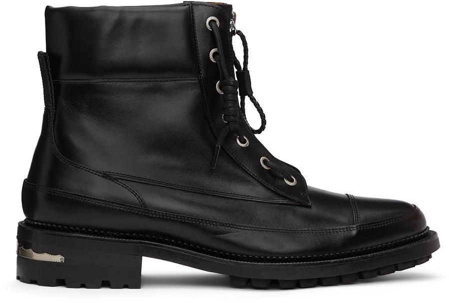 Toga Virilis 黑色皮革踝靴