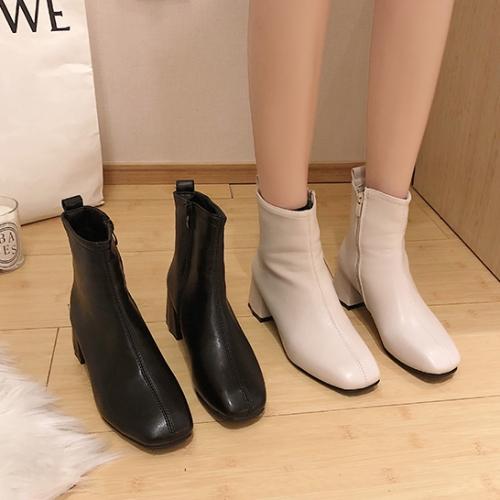 【限量現貨供應】靴子.街頭時尚側拉鍊拼接粗跟短靴.白鳥麗子