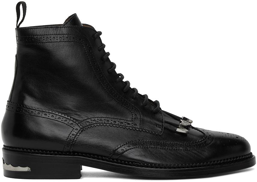 Toga Virilis 黑色流苏皮革踝靴