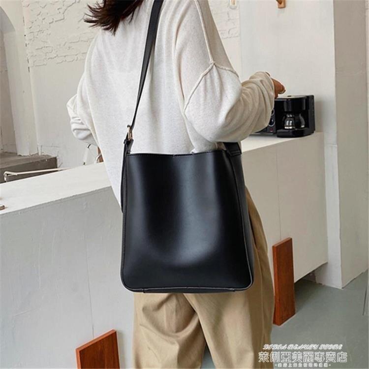 水桶包 網紅質感學生側背包包女新款潮時尚大容量百搭斜背子母水桶包【89折特賣】