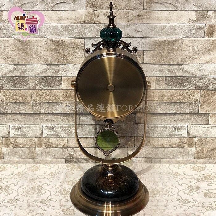 《青銅琥珀文底座》歐式古典輕奢青銅琥珀搖擺桌鐘 客廳房間玄關桌鐘座鐘 歐式宮廷風豪宅建案店面居家裝飾【築巢傢飾】