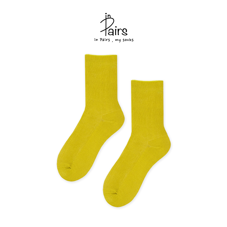 【in Pairs】素色中筒襪-黃芥末F【康是美】