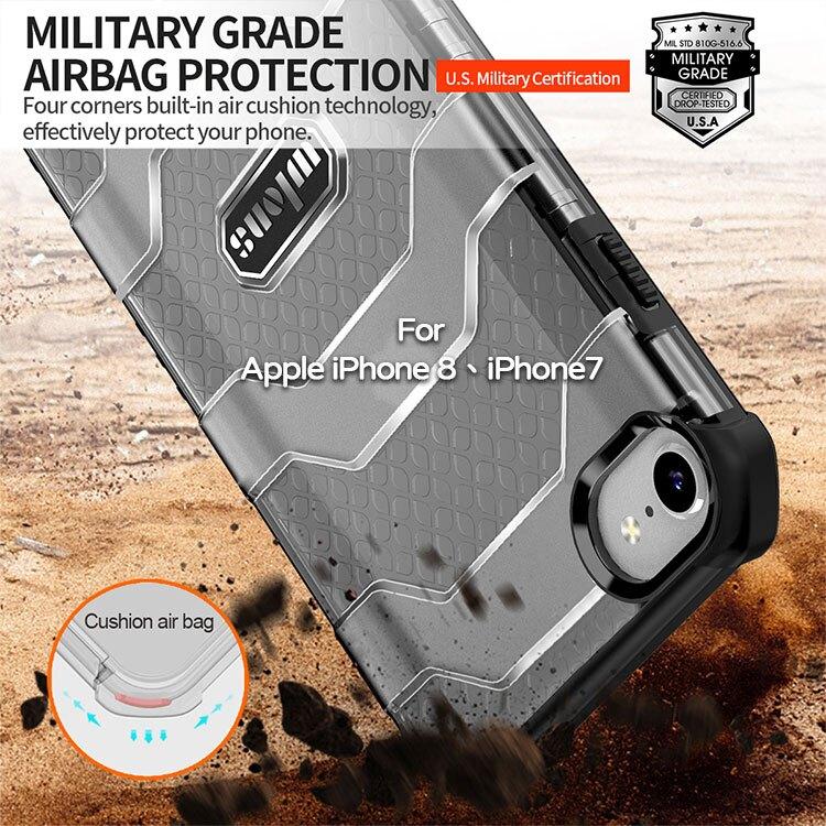 【軍工級防摔殼】Apple iPhone 8/iPhone 7 4.7吋  探索者防摔殼/氣囊保護殼/手機背蓋/半透明殼-ZW