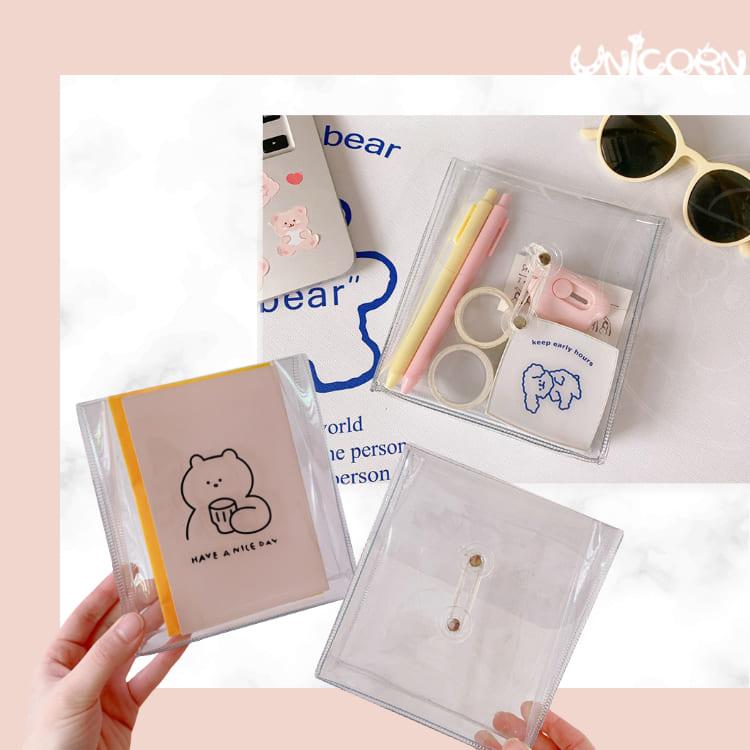 -兩款-透明PVC方形繞線收納袋 小物包 化妝包 文具包 筆袋 票據收納包【BG1100105】Unicorn