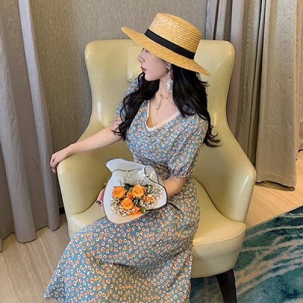 (下殺)碎花連身裙夏法式裙藍色復古裙子V領泡泡袖女修身長裙夏【08SG05985】