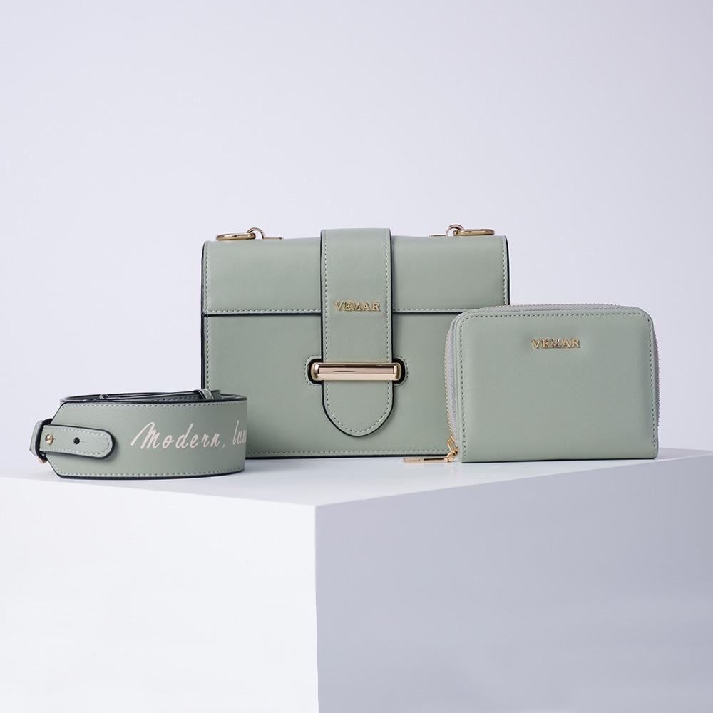 VEMAR極簡時尚經典磚塊小方包兩件組(酪梨綠)
