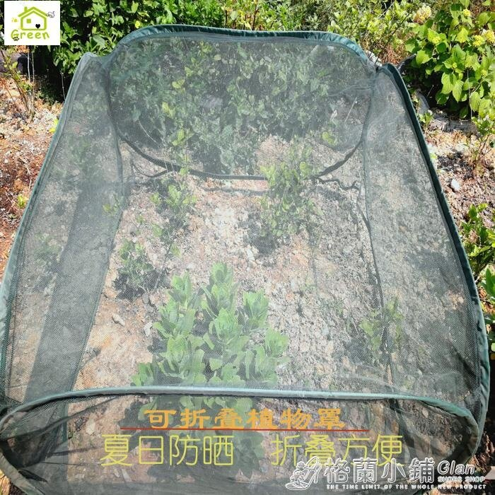 花園暖房鋼絲可摺疊花卉遮陽棚蔬菜多肉植物防鳥網罩家用小型花棚ATF a AG