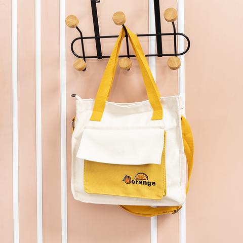 *日系帆布兩用側背包-米白