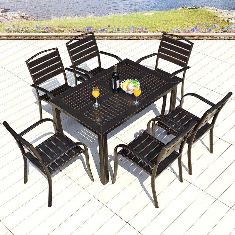 戶外桌椅咖啡廳休閑餐桌椅室外庭院陽臺鑄鋁桌椅花園外擺露天桌椅 愛尚優品