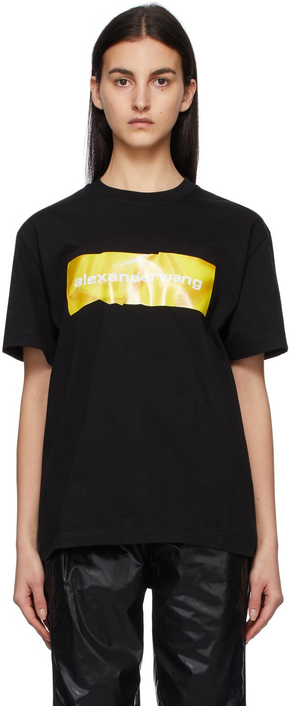 Alexander Wang 黑色 Crumpled Logo T 恤