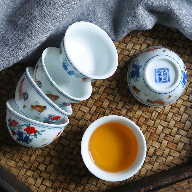 雞缸杯青花瓷茶杯子陶瓷仿手繪功夫茶具茶碗品茗杯白瓷主人杯單杯
