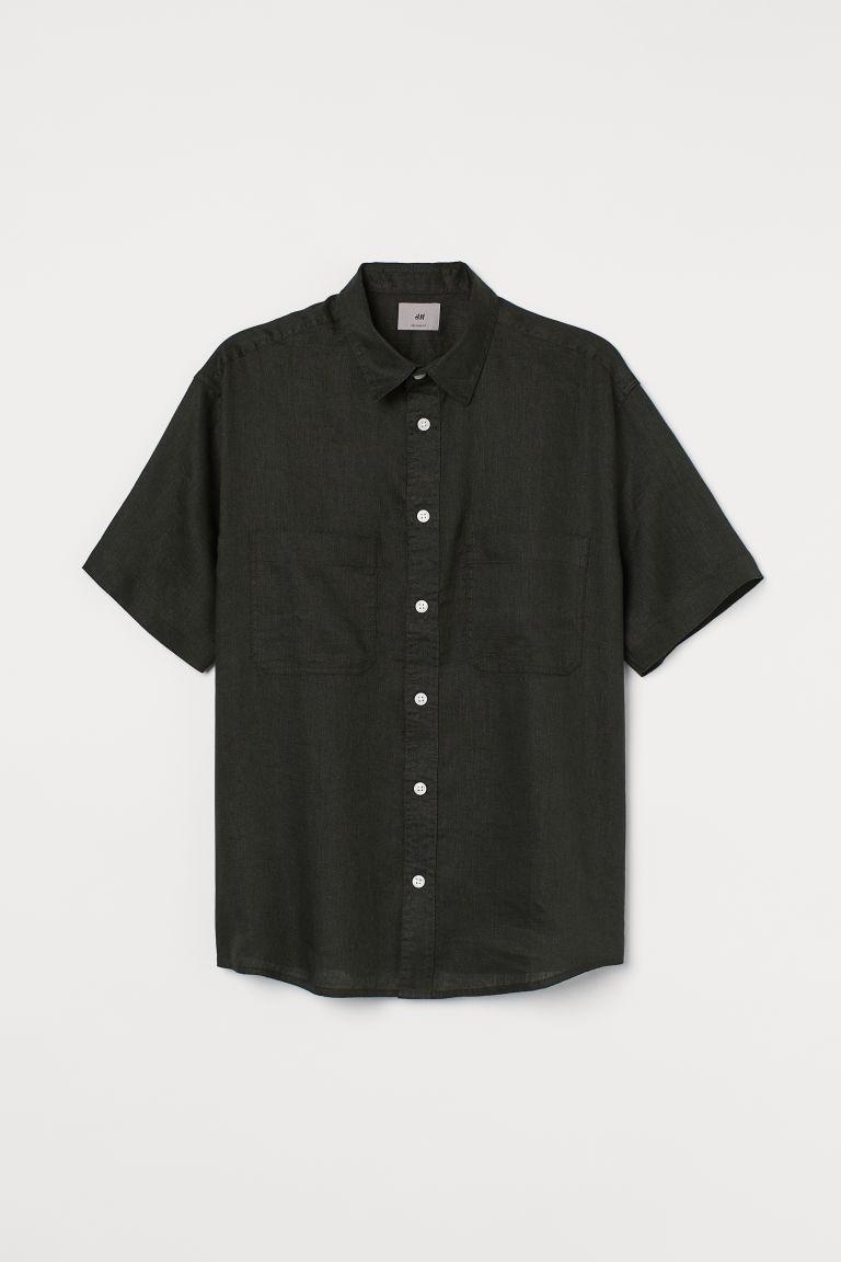H & M - 休閒剪裁亞麻襯衫 - 綠色
