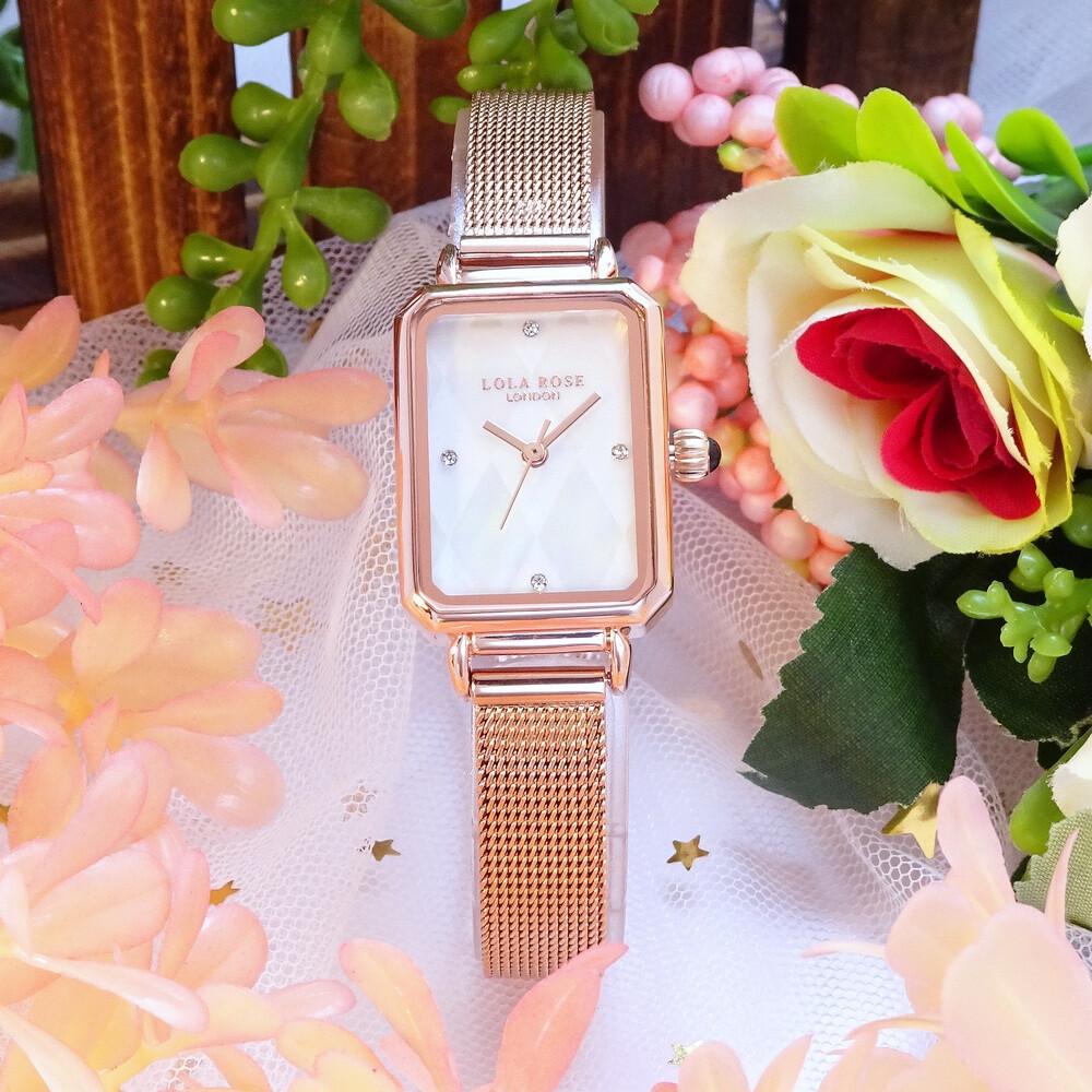lola rose 英式london的美感時尚優質米蘭式腕錶-方形菱格紋貝殼+玫瑰金-lr4182