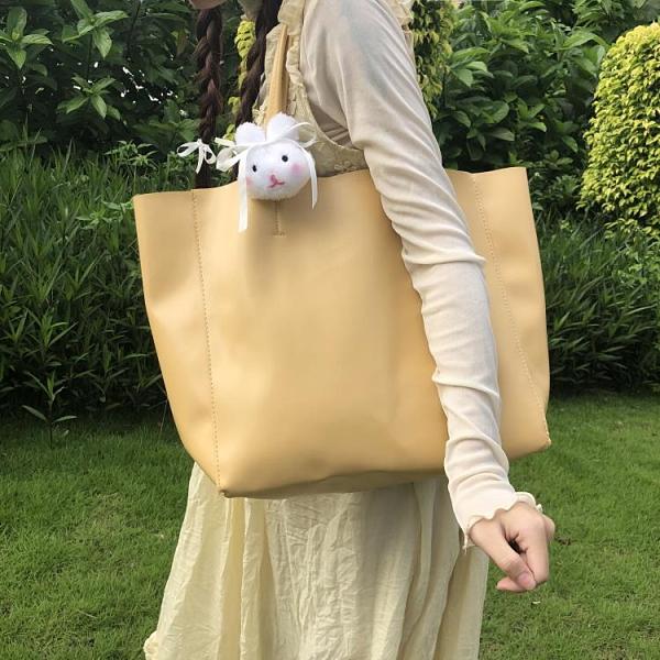 托特包 大容量溫柔百搭自制軟皮托特包淡奶油黃日系少女單肩女包購物袋