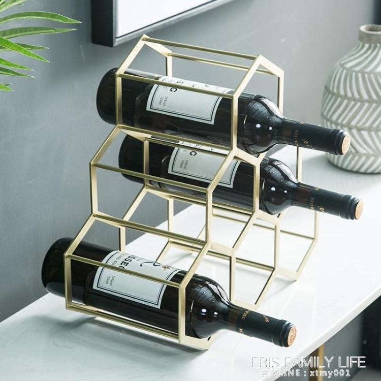 簡約北歐家居酒架擺件創意奢華葡萄酒架家用酒柜樣板間裝飾品 原本良品 交換禮物 送禮