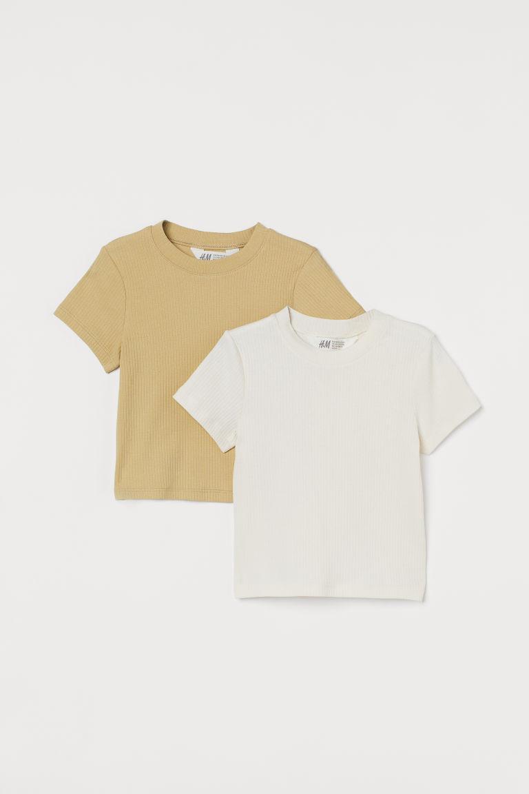 H & M - 2件入羅紋上衣 - 米黃色
