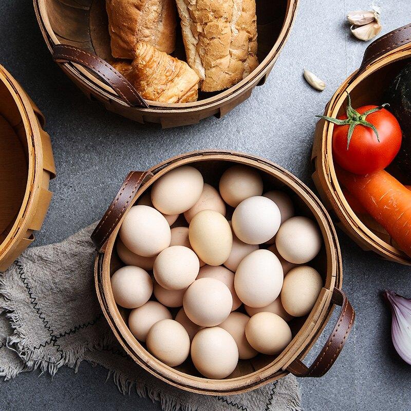 舍里 日式手工編織木片收納籃儲物南瓜籃水果籃面包籃野餐手提籃 第一印象