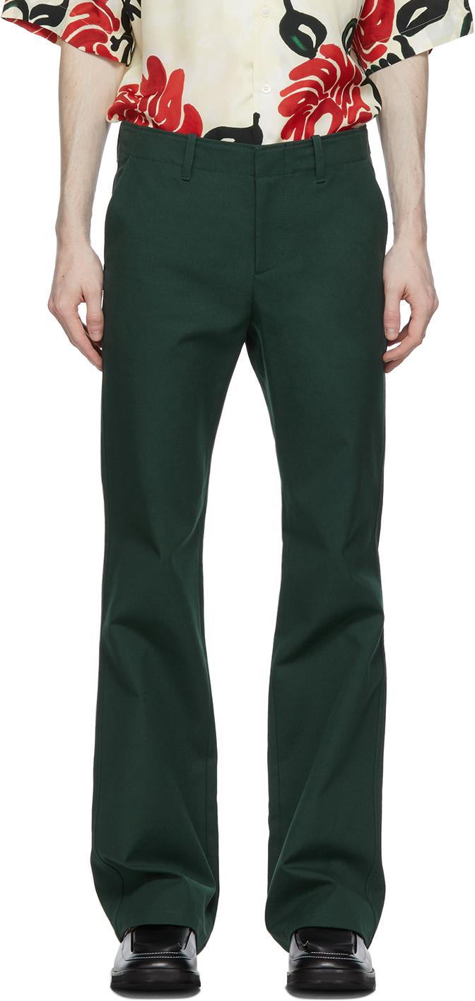 Marni 绿色帆布喇叭裤