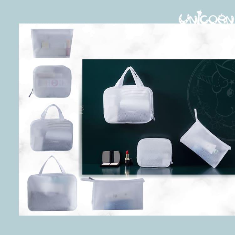 -五種尺寸-簡約白霧面透明防水化妝包系列 手提包 大容量收納包 小物包 旅行包【AS1090728】Unicorn手機殼