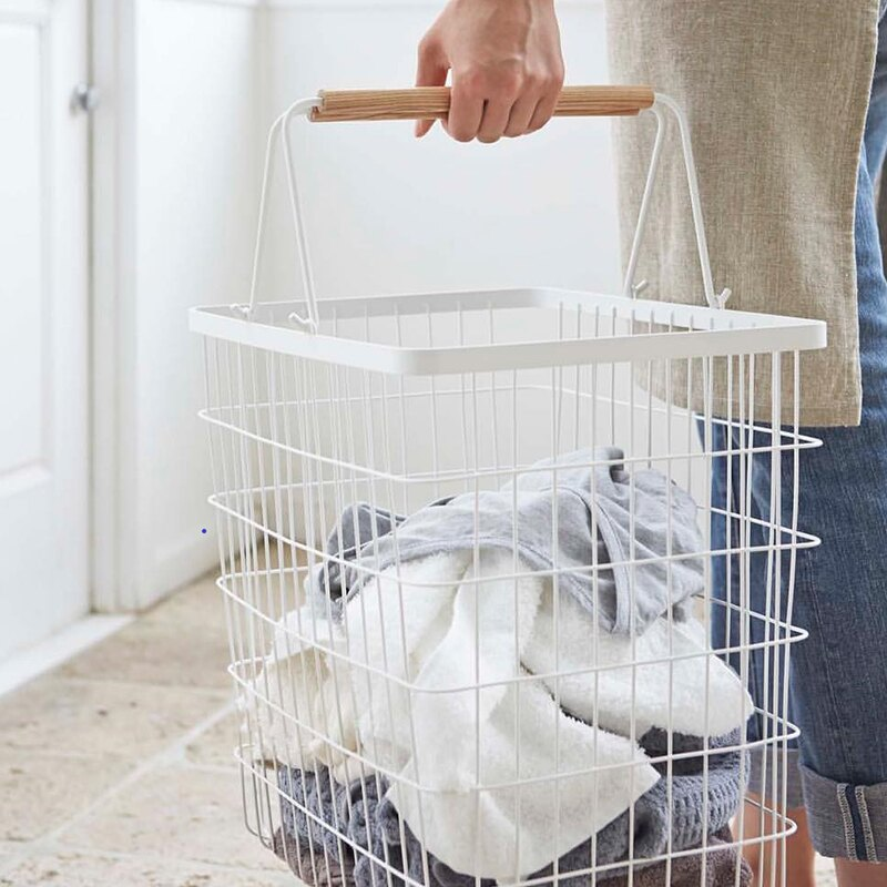 日式铁艺脏衣篮ins风衣篓洗衣篮子榉木手柄家用脏衣服收纳筐