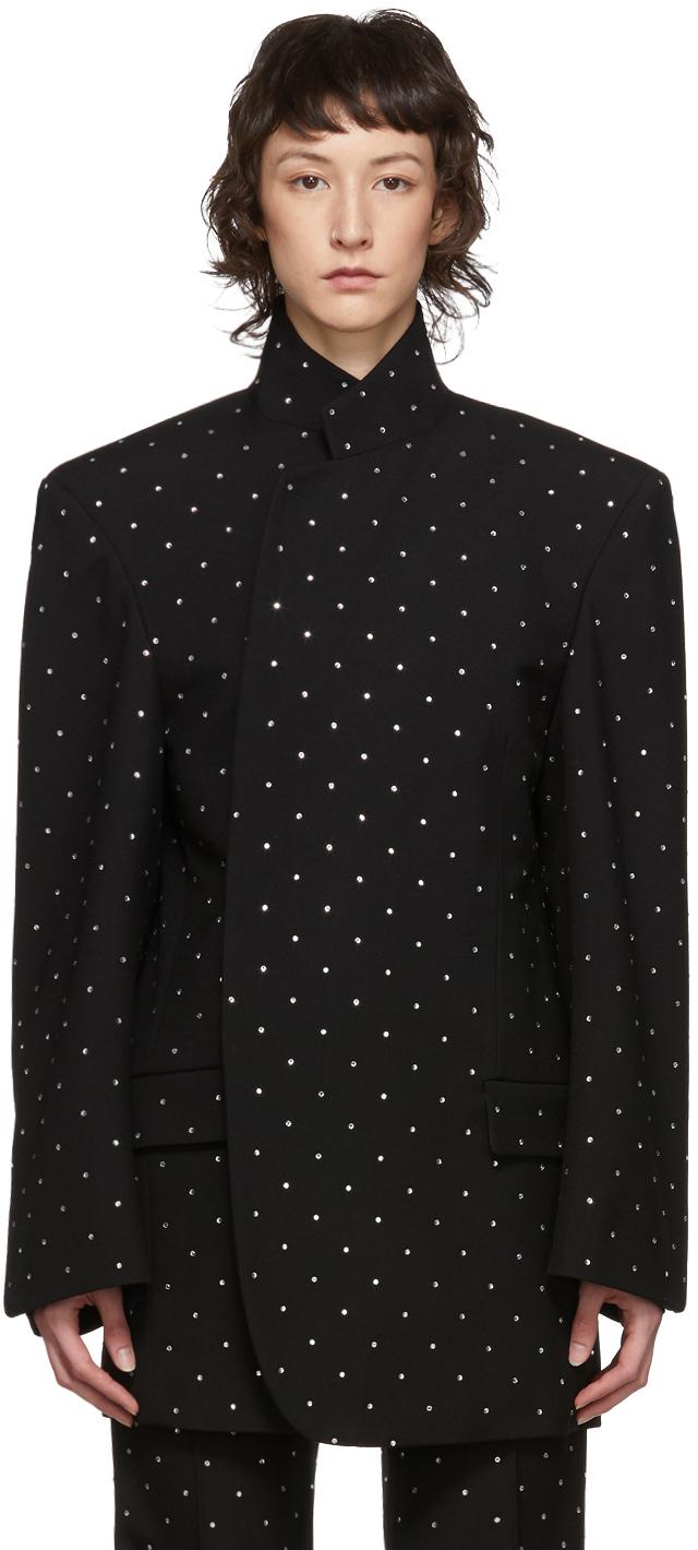 Balenciaga 黑色 Strass Shifter 羊毛西装外套