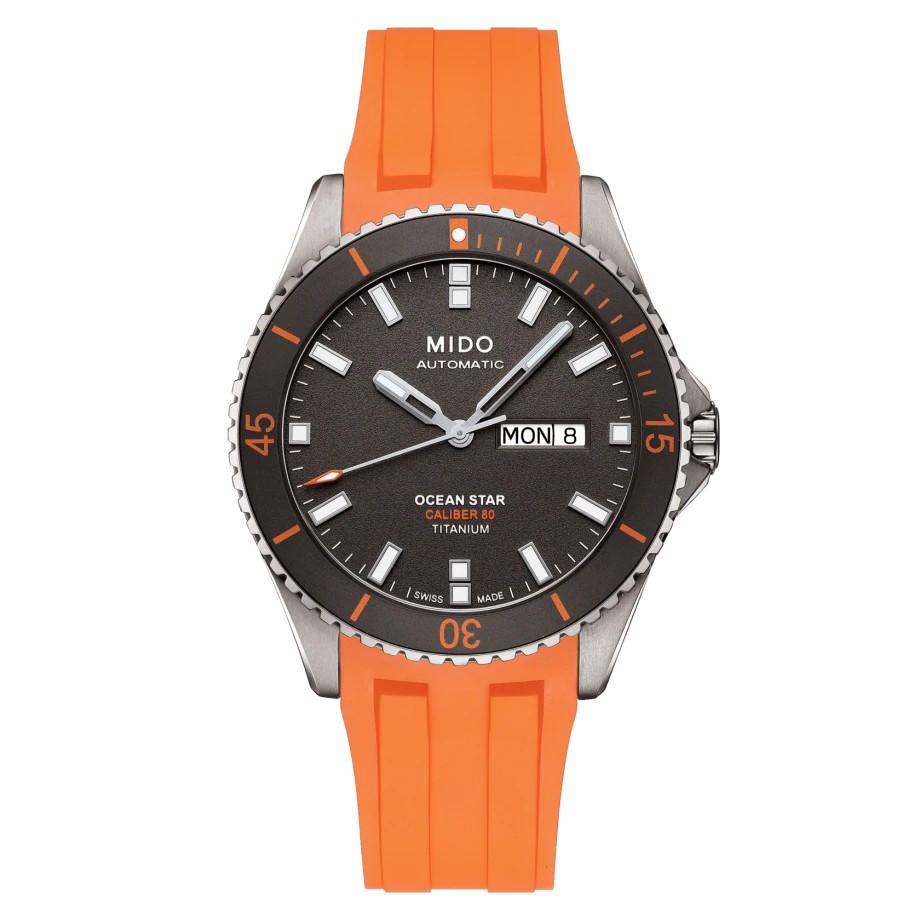 MIDO美度 OCEAN STAR海洋之星80動力鈦潛水機械錶-灰x橘/42mm (M0264304706100)