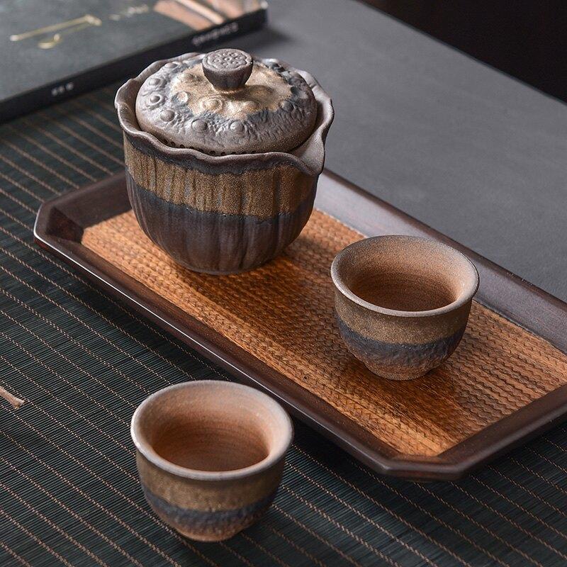 陶福氣 手工粗陶蓋碗陶瓷單個大三才蓋碗家用泡茶碗手抓壺泡茶器