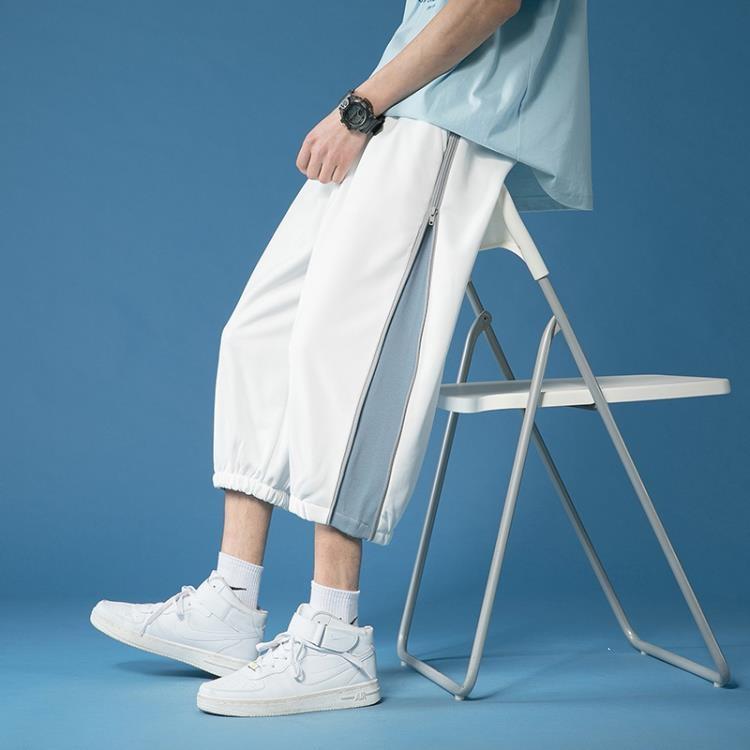 拉鏈設計感褲子高街ins潮牌白色短褲男夏季寬松7七分褲束腳運動褲 凡卡時尚