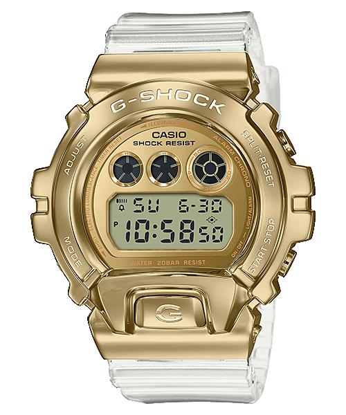 【CASIO卡西歐】G-SHOCK 霸氣時尚金屬錶圈數位錶-金色/透明錶帶 (GM-6900SG-9)