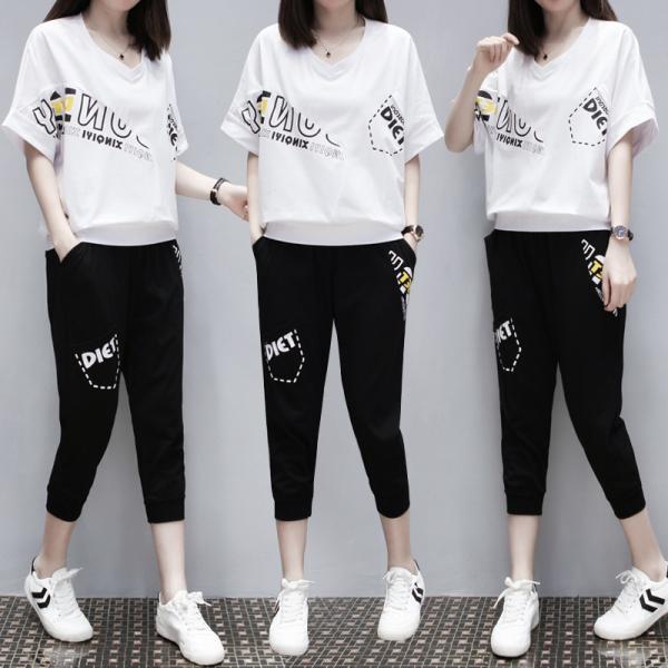 9th street超值兩件組 時尚印圖上衣+顯瘦七分褲(預購)(共兩色)