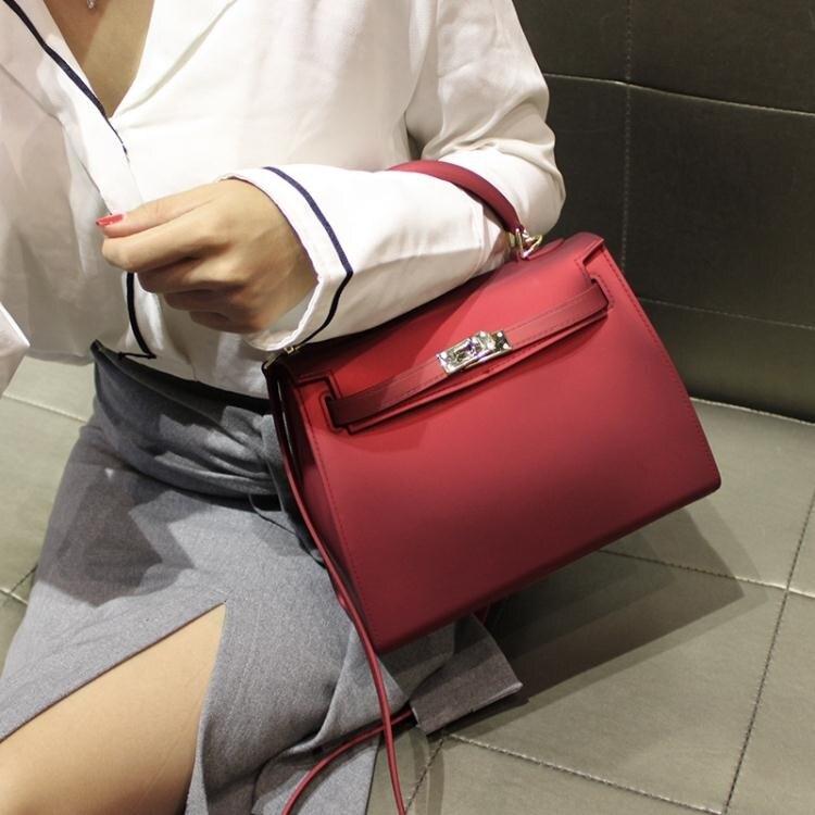小CK女包2020新款磨砂果凍凱莉包紅色新娘手提婚包斜挎包女單肩包