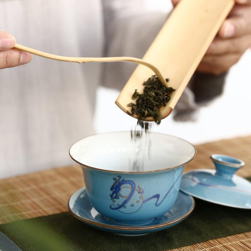 逸峰蓋碗茶杯陶瓷大號單個三才泡茶碗白瓷功夫茶具景德鎮青瓷特價