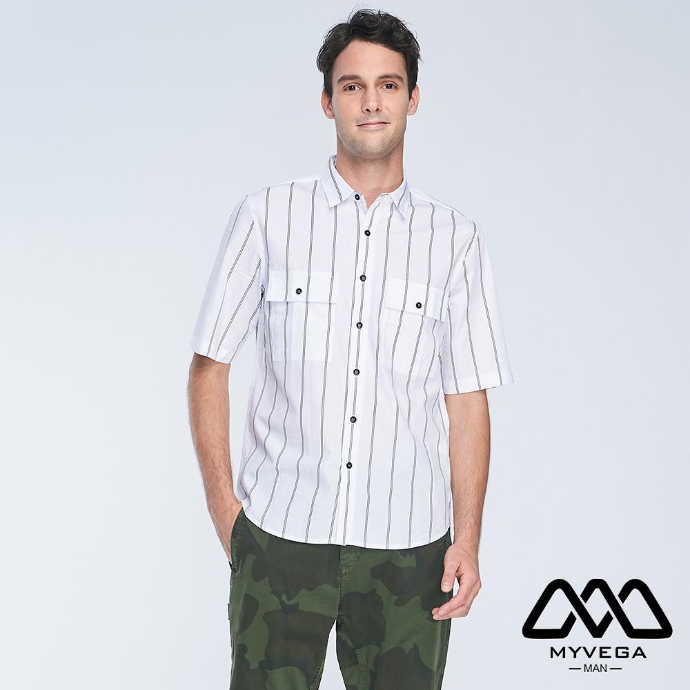 【麥雪爾】MAN落肩oversize寬條紋口袋短襯衫-白