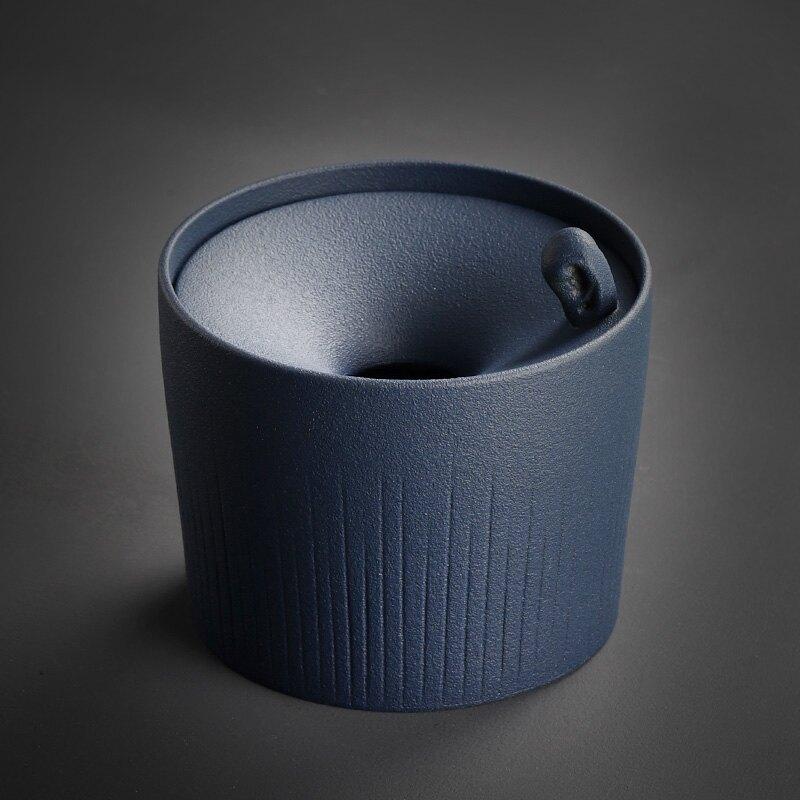 建水茶水盂干泡茶具零配陶瓷水洗茶菜茶渣桶桌面茶渣罐防飛煙灰缸
