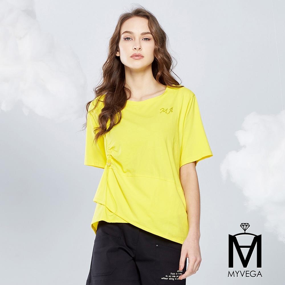 【麥雪爾】MA純棉拼接抽繩五分袖上衣-黃