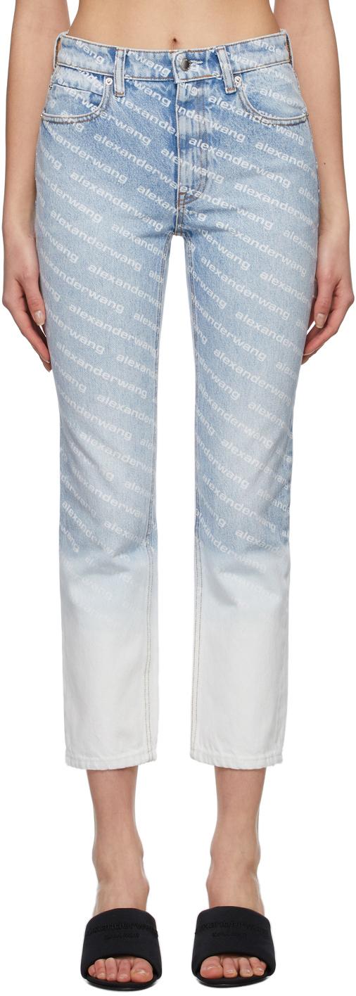 Alexander Wang 蓝色 Ombre Logo 牛仔裤