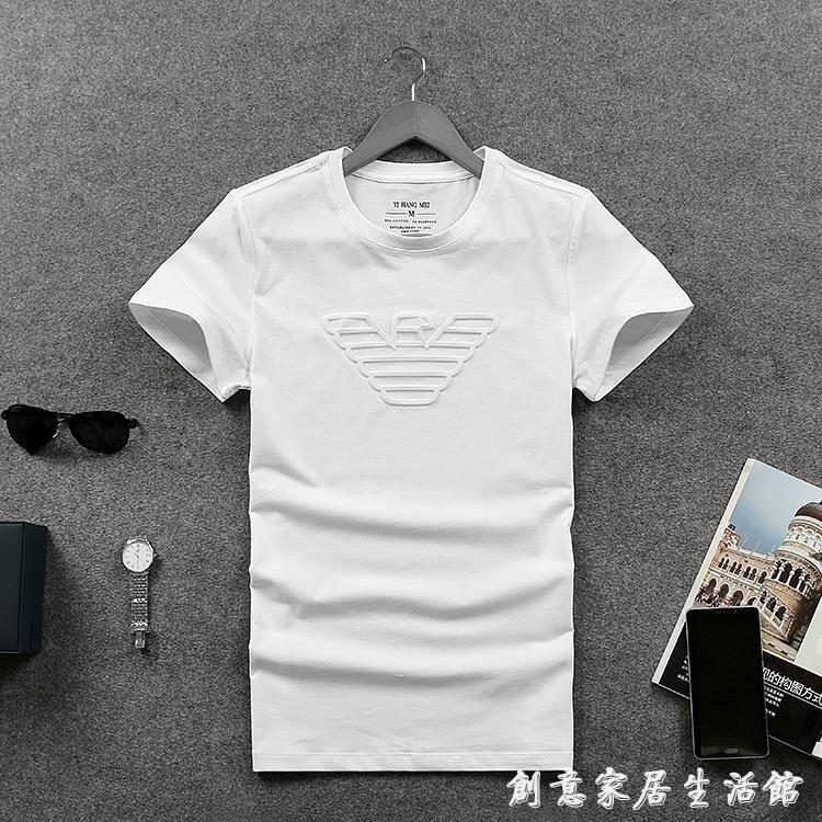 夏裝男士個性印花短袖t恤潮款圓領純色純棉歐洲站修身打底衫 七色堇 交換禮物 送禮
